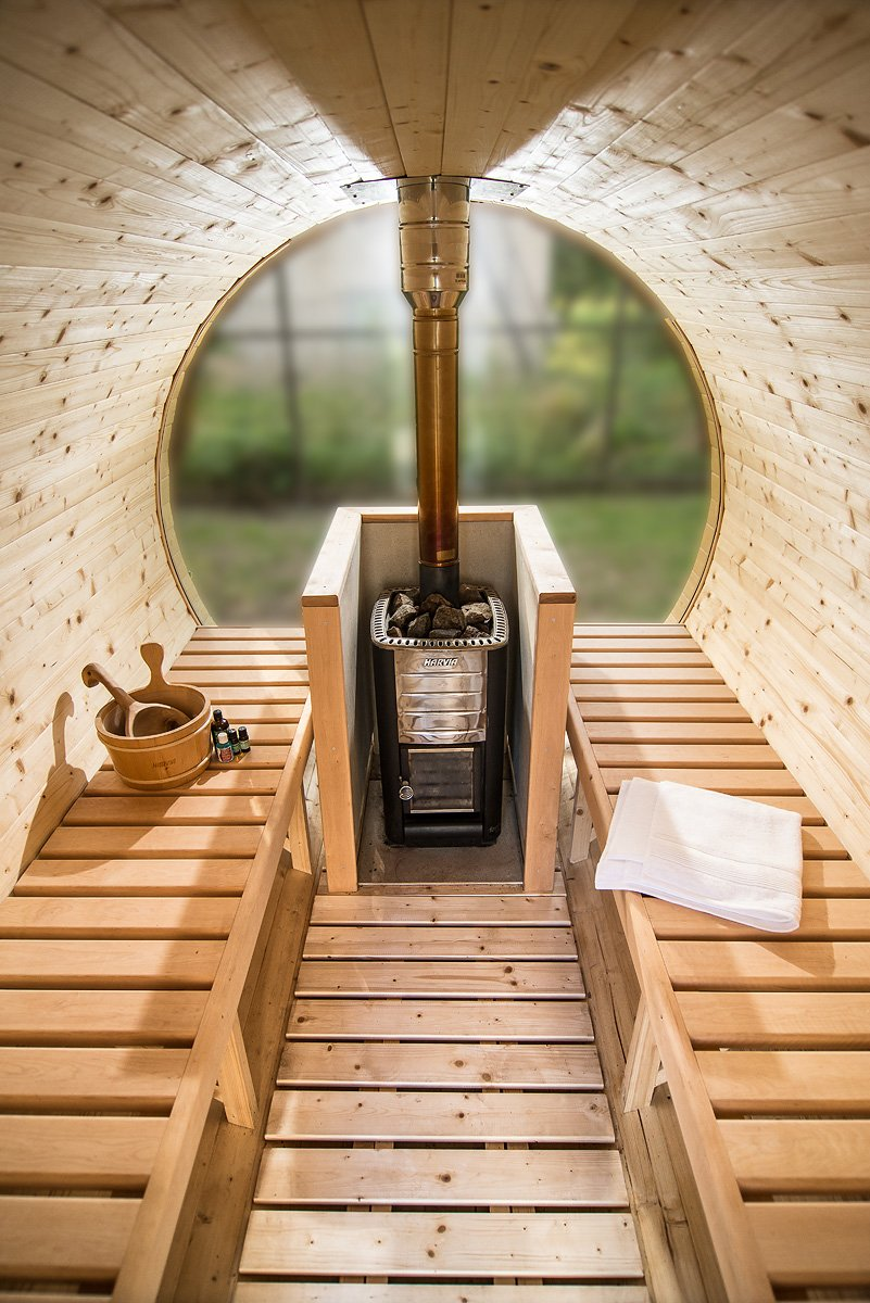 Sauna barrel 3 m Length Inside with  full glass back wall Viking1